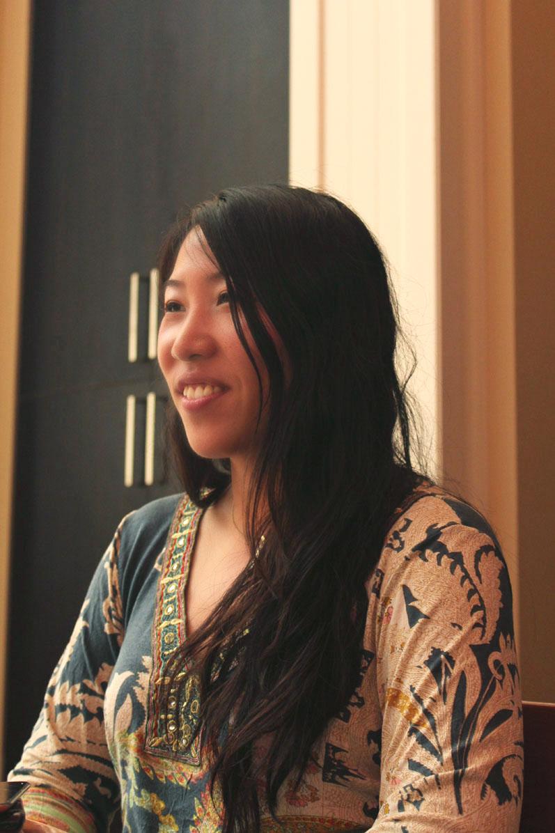 Sayaka Miwa seen here practices Batik, a special technique in dyeing fabrics. Photo Courtesy Kaori Fujishima