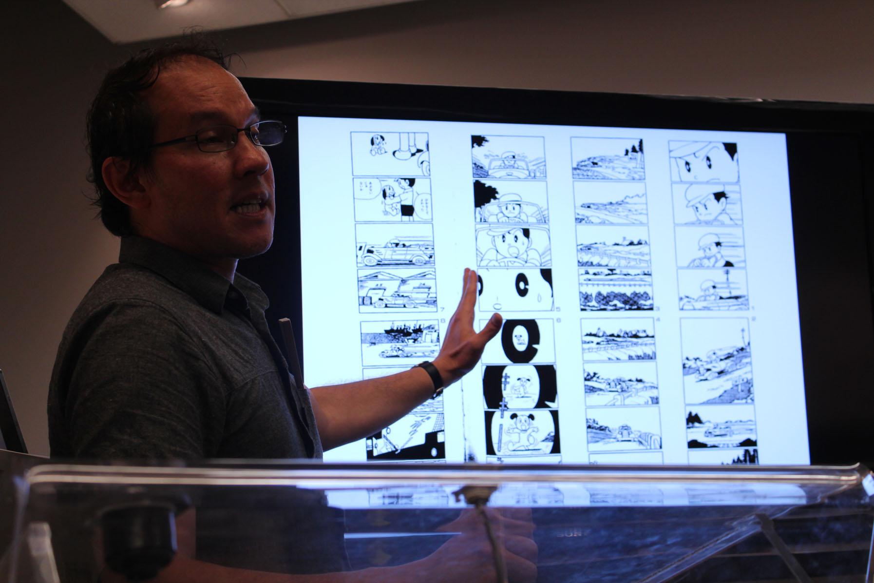"Roland Kelts was referring to ""New Treasure Island"" drawn by Osamu Tezuka in his lecture. [Photo Courtesy: Kaori Fujishima]"
