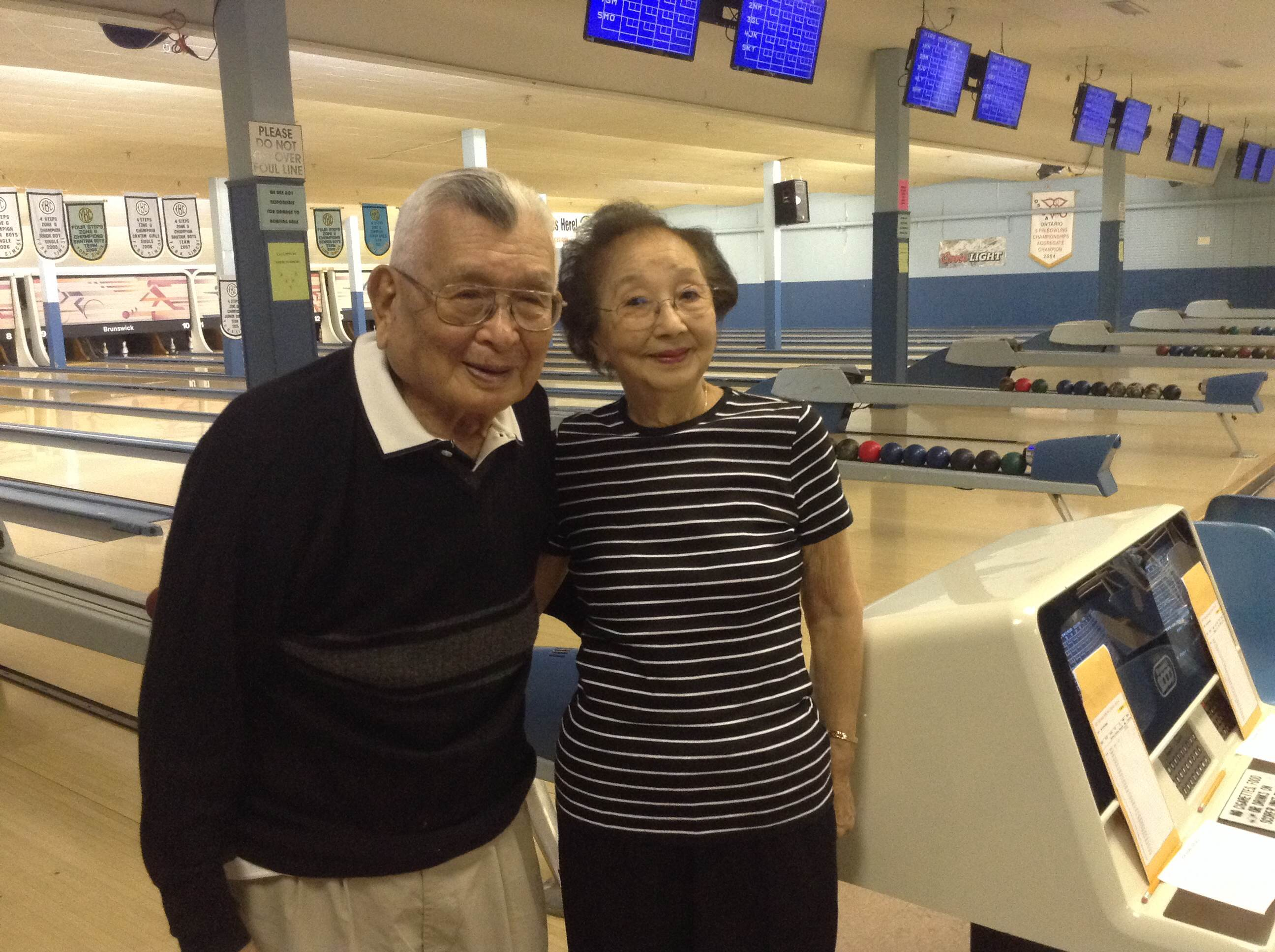 Mas Yatabe and his wife Amy seen here at the Rexdale Bowlerama. He's been bowling for as long as he can remember, and he's as good as ever. Photo courtesy: Matthew O'Mara