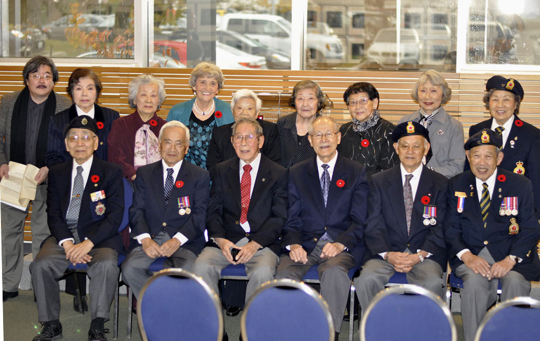 A group photo of Japanese Canadian nisei soldiers who fought for their country.