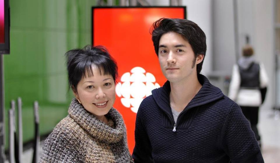 Mary Ito and Matthew O'Mara inside of the CBC building in Toronto.