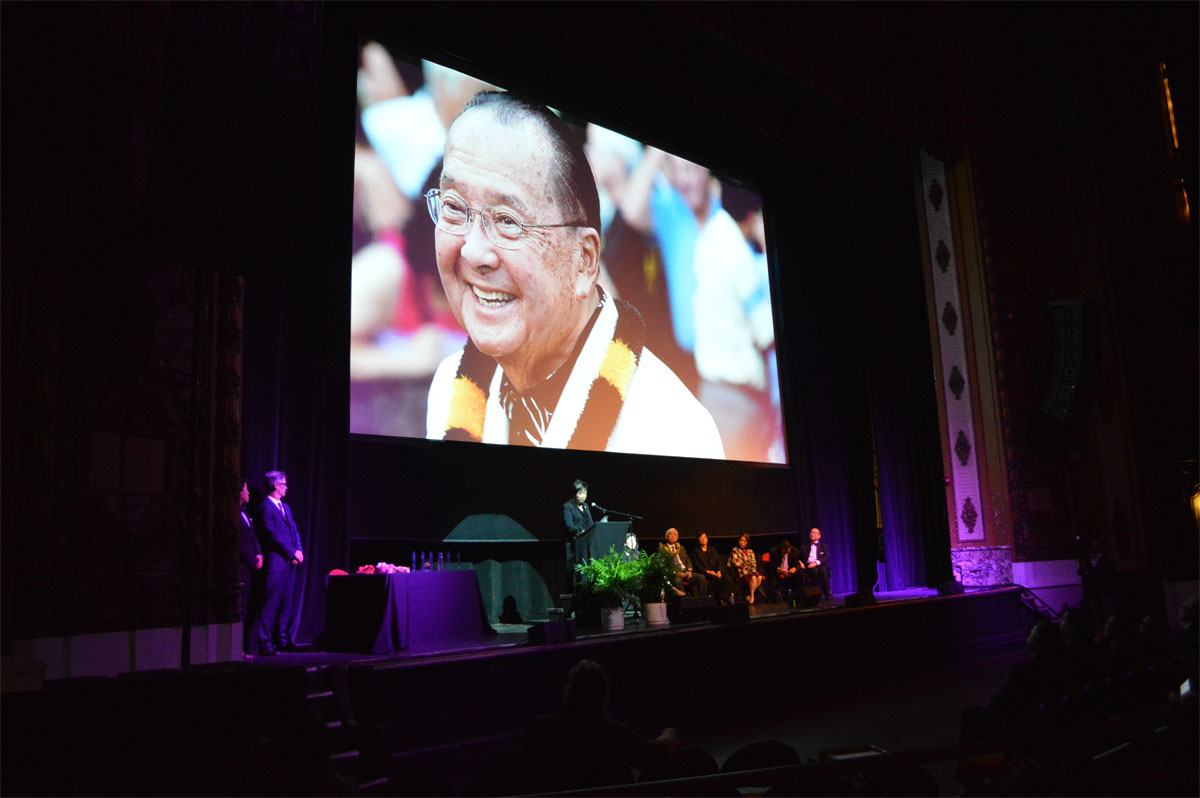 An image of Senator Inouye on screen at the reception. Photo courtesy: Chris Hope