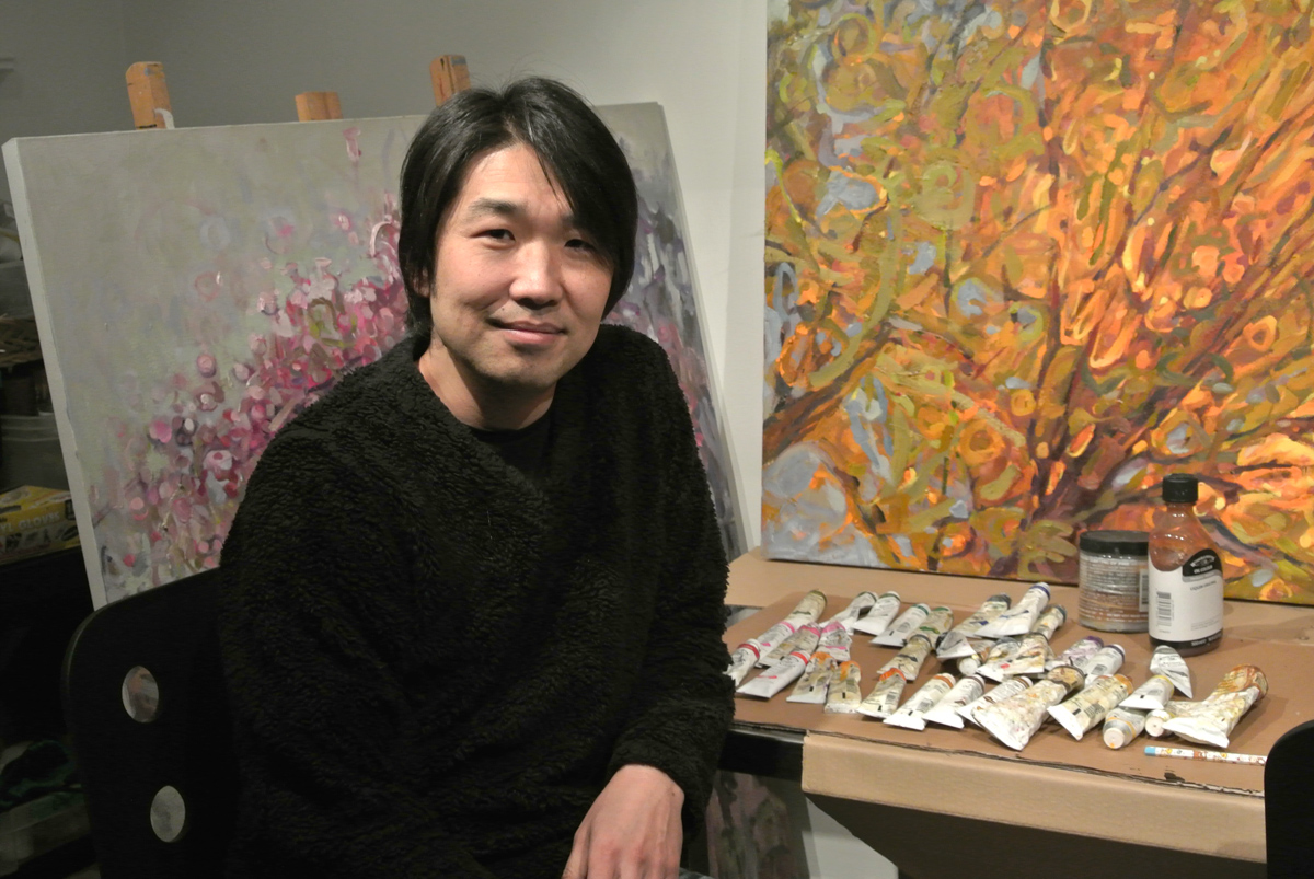 Shinya Kumazawa in his studio in Toronto. Photo courtesy: Remi Kobayashi