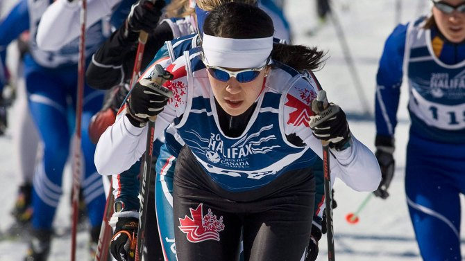 Emily Nishikawa, 24, born in Whitehorse, competes in skiing competitions.