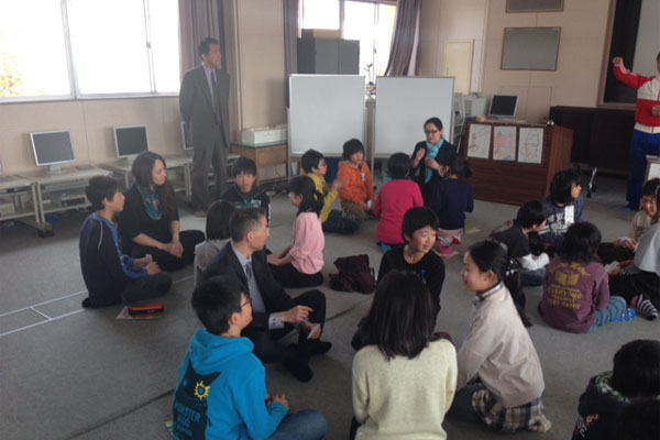 "Working with students at the Masudanishi Elementary School in the City of Natori. ""The students were having a lesson on how to say food names in English and our delegation was called to participate in the activities."" Keiko Marumo says. Photo courtesy: Jennifer Matsunaga"