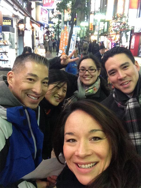 Delegation Selfie in Shibuya.  L-R Jason Kita, Kathy Shimizu, Jennifer Matsunaga, Keiko Marumo, Chris Hope. Photo courtesy: Jennifer Matsunaga